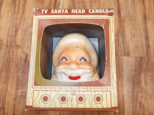 Vintage TV Santa Head large candle