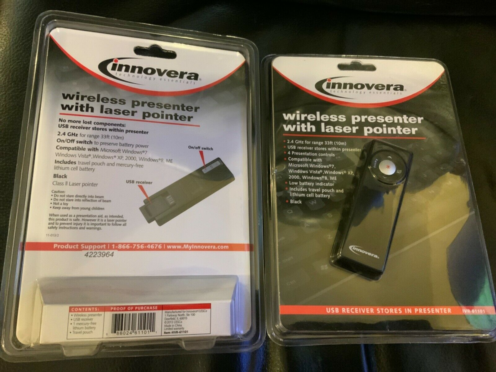 Innovera Wireless Presenter with Laser Pointer, Matte Black