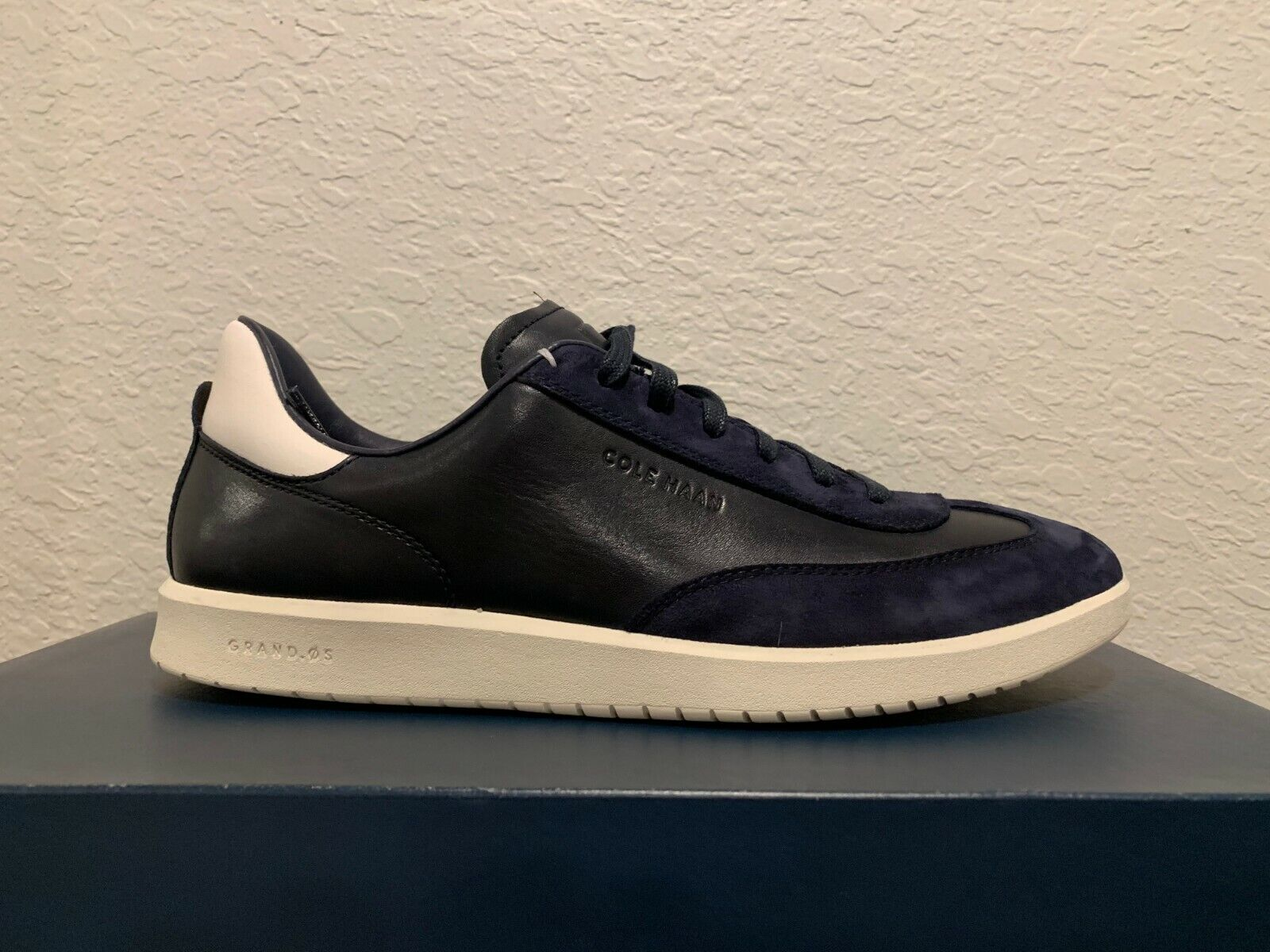 Cole Haan GrandPro Turf Sneakers Mens Round Toe Leather Shoes Trainers Navy