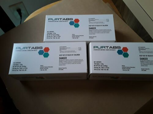 3 PACK OF 100CT PURTABS HOSPITAL GRADE DISINFECTANT ...EPA APPROVED... EVACLEAN