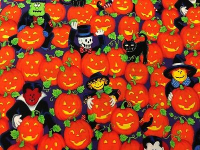 Cute I Spy Halloween Witches Vampire Skeleton Black Cats w/ Pumpkins Fabric BTHY - I Spy Halloween