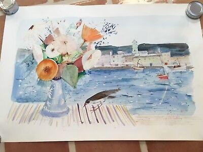 watercolor painting signed Charles Levier flowers in a vase on ledge by harbor