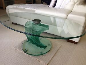 Oval Bevelled Edge Glass Coffee Table / Solid Glass Spiral Base Mermaid Beach Gold Coast City Preview