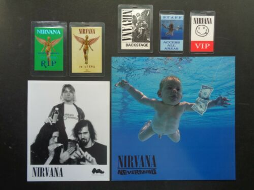 NIRVANA,B/W Promo Photo,5 Original Backstage passes,12 inch Poster,Various tours
