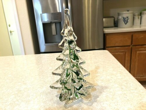 VINTAGE 8 INCH GLASS CHRISTMAS TREE WITH GREEN STRIPES