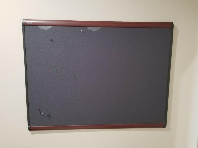 Quartet Prestige Plus Magnetic Fabric Bulletin Board 48 x 36 Mahogany Frame