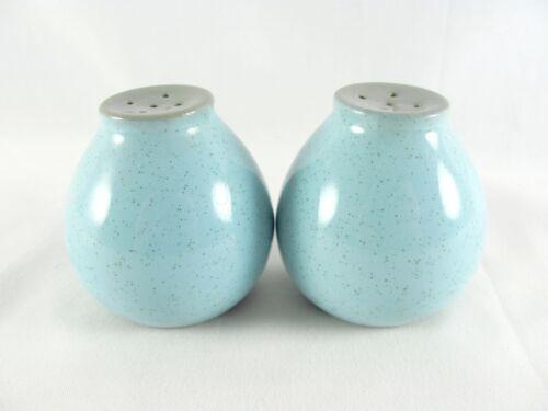 """Harker Blue Mist Salt & Pepper Shakers, 2-1/8"""", stone, speckled, turquoise, vtg"""