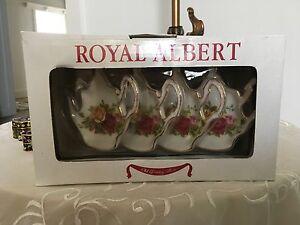 Royal Albert Old Country Roses tea bag holders, set 4 Kew East Boroondara Area Preview