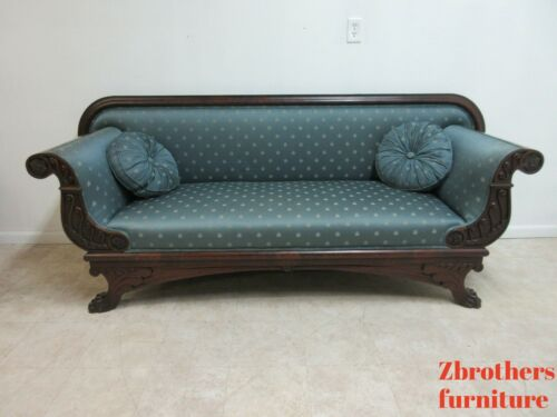 Antique Empire Flamed Mahogany Sofa Settee Couch Victorian Paw Foot
