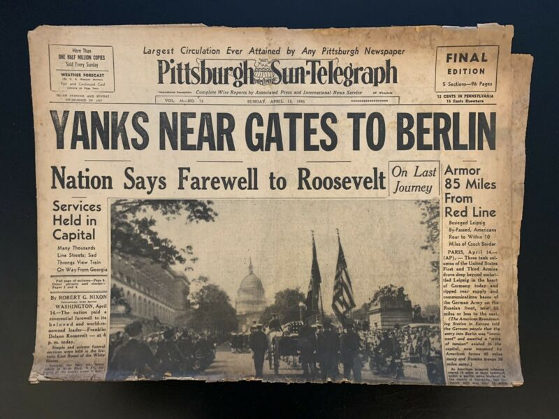 "Vintage 1945 Pittsburgh Sun-Telegraph ""Yanks Near Gates To Berlin"" Newspaper"