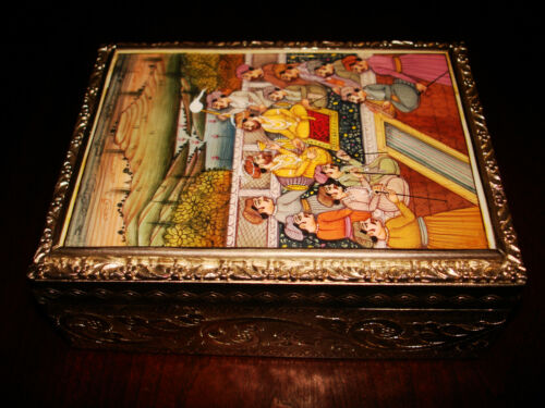 Amazing Antique Mughal Empire Silver and Hand-Painted Ivory Betel Box
