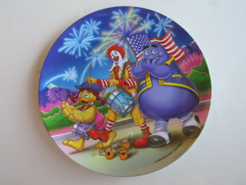 McDonalds July 4th Plate 1998 - Ronald Grimace  - Unused - 9 1/2 in. wide