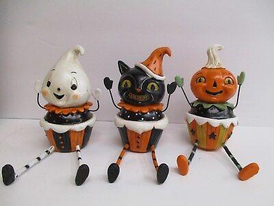 Cat Cupcakes Halloween (Set of 3 Halloween Cupcake Ghost Cat Sitter Figures - Halloween Decor 4.25