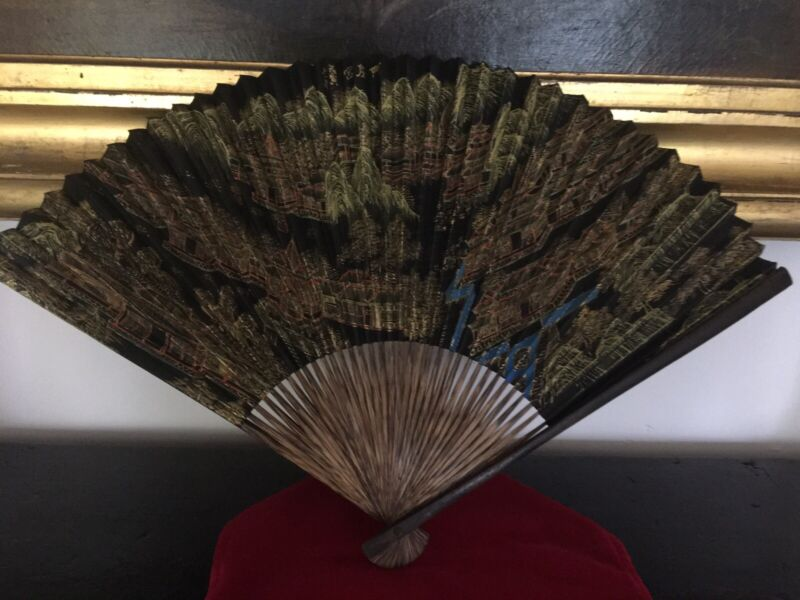 Antique Bamboo/Teak Hand-Painted Ladies Chinese Fan With Calligraphy On Back