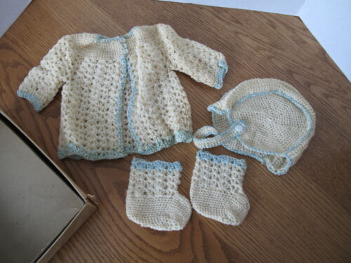 Vintage Infant Baby 4 Pc Knit Sweater Set w/ Matching Booties and Bonnet