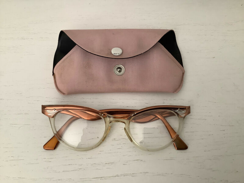 Vintage Antique Cat Eye Eyeglasses Frames 5 1/2 Aluminum Copper Finish & Case