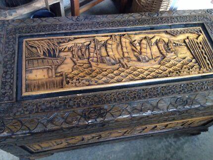 Asian camphor timber chest $100