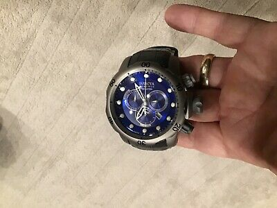 RARE Invicta Swiss Made Reserve Venom TITANIUM Blue Dial Gray Leather Strap
