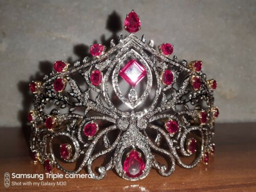 Victorian 15.30 Ctw Rose Cut Diamond & Ruby 925 Sterling Silver Weeding Tiara