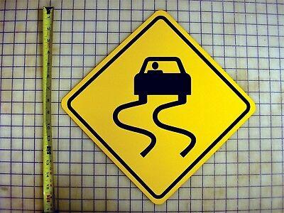 SLIPPERY ROAD AHEAD YELLOW ALUMINUM SIGN Ahead Yellow Sign