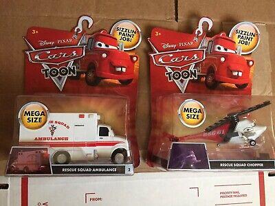 Disney Pixar CARS Toon Rescue Squad Chopper & Ambulance Lot Mega Size Sealed MIB