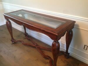 Solid wood and glass side serving table
