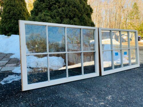 2- 40 x 27 Large Vintage Window sash Beige old 8 pane From 1970s Arts & Craft