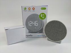 New Capello Round Time Table Digital Clock - Gray USB Phone Charging Dual Alarm