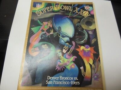 1990 NFL FOOTBALL SUPER BOWL XXIV OFFICIAL GAME PROGRAM BRONCOS VS 49ERS BACK MI