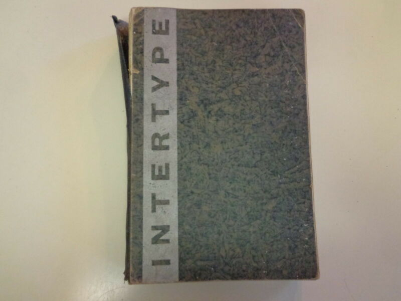 Intertype Parts, Supplies, and Accessories Catalog 1935 Printing Press Machine