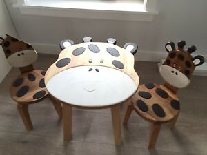 Solid wood kids table and chairs!