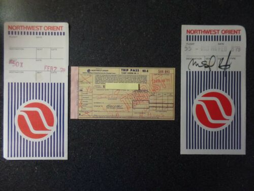 Northwest Orient Employee paper ticket  Vintage Rare 1979 FREE Shipping to USA