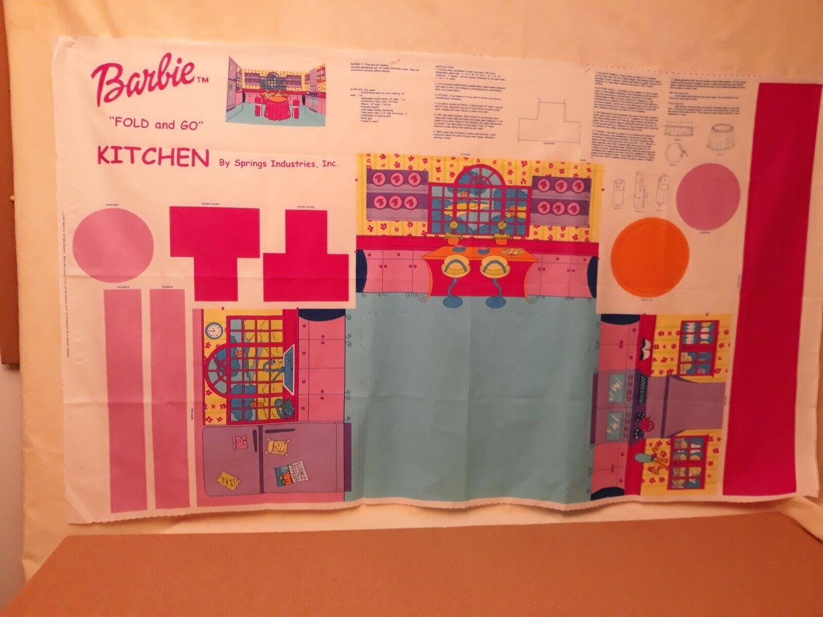 Barbie Fold And Go - Bedroom Bathroom Or Kitchen Cotton Panel By Springs Fabrics - $5.99