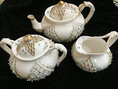 KTK (Knowles Taylor Knowles) Lotus ware 3-piece tea set with floral decor