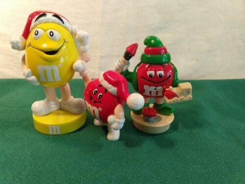 Vtg M&M Toy Christmas Characters 2 Reds, 1 Yellow Bobblehead