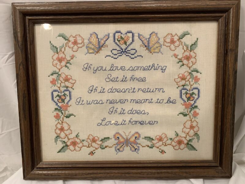 """Vintage Completed Stamped Cross Stitch  If You Love Something 11x14"""" W Frame"""