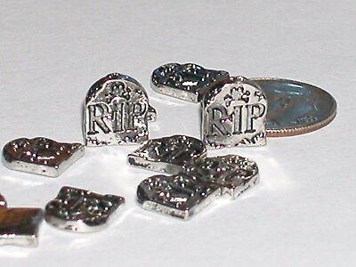 2 Halloween Headstones (2pc. Miniature loose mini tiny little Graveyard RIP Headstone skull)