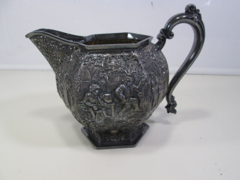 Vintage Barbour Silverplated Repousse Dutch Scene Pitcher