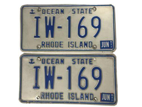 RHODE ISLAND LICENSE PLATE OCEAN STATE 1993 IW-169 Set.