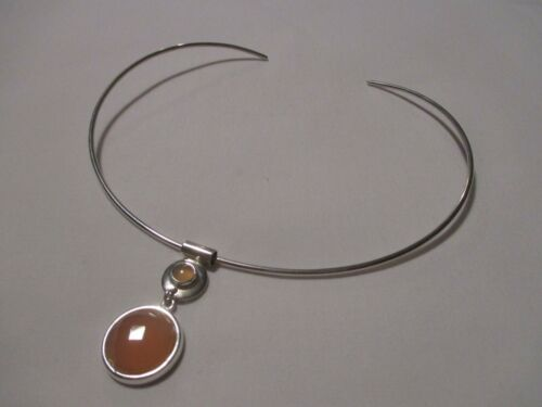 NEW WITH TAGS!  DOMINIQUE DINOURT STERLING SILVER PINK CHALCEDONY NECKLACE