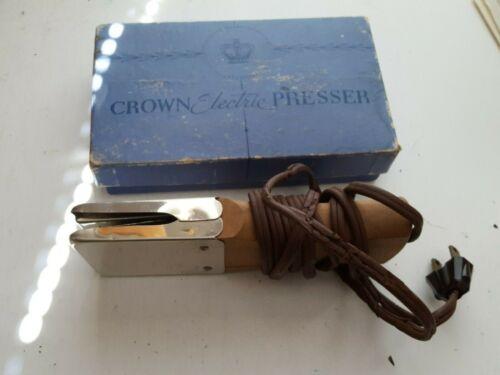 Crown Electric Pants Presser Chrome with Wood Handle & Box  Vintage