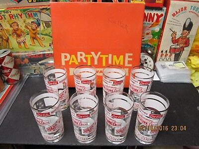 COCA COLA 25th ANNIVERSARY BOTTLING PLANT DRINKING GLASS SET OF 8-1962 NOS BOXED