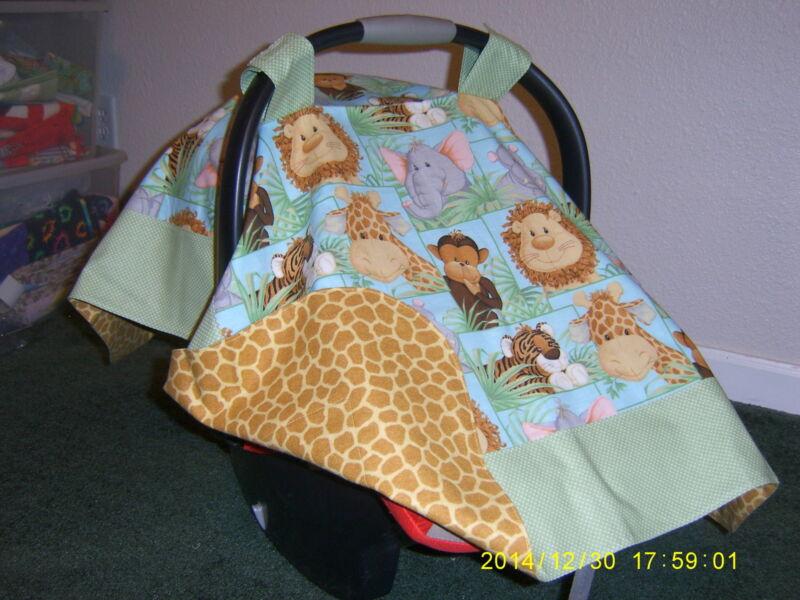 **ELEPHANT GIRAFFE MONKEY LION TIGER* Handmade Baby Infant Car Seat Canopy-Cover