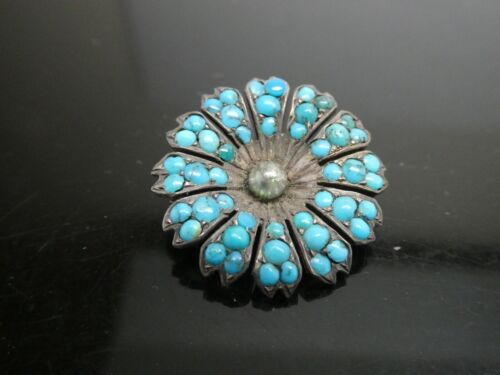 Antique Victorian Gold Filled Tiny Turquoise Gemstone Round Flower Brooch Pin
