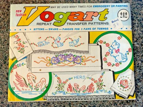VTG Iron-On Embroidery Transfers Patterns VOGART 242 Kittens Swans Pillow Cases