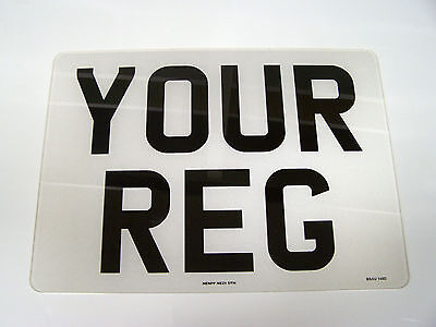 SQUARE FRONT PLATE NUMBER PLATE 11 x 8 WHITE REG PLATE FREE POST