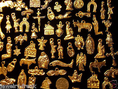 100 Gold Day Of The Dead Milagros Milagro Mexican Offering Charms Assorted Lot