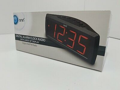 ONN Digital Alarm Clock Radio with Large 1.8 Display Digital AM/FM Radio