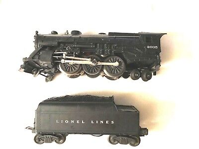LIONEL POSTWAR 2035 LIONEL LINES 2-6-4 STEAM LOCOMOTIVE WITH TENDER (VG COND.)