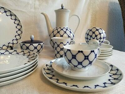 Komplett Kaffee Service Melitta Rom blau Gittermuster für 6 Personen 50er 60er
